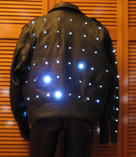 Leather Biker Jacket With White Leds Enlighted Designs